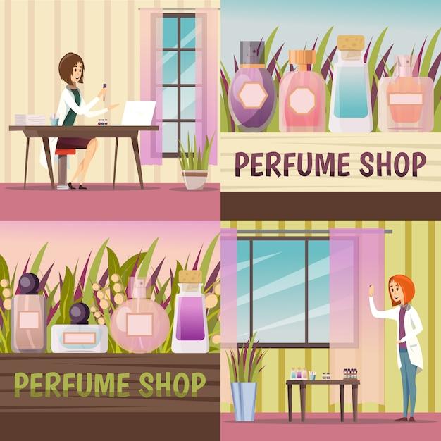 Four perfume shop icon set Free Vector