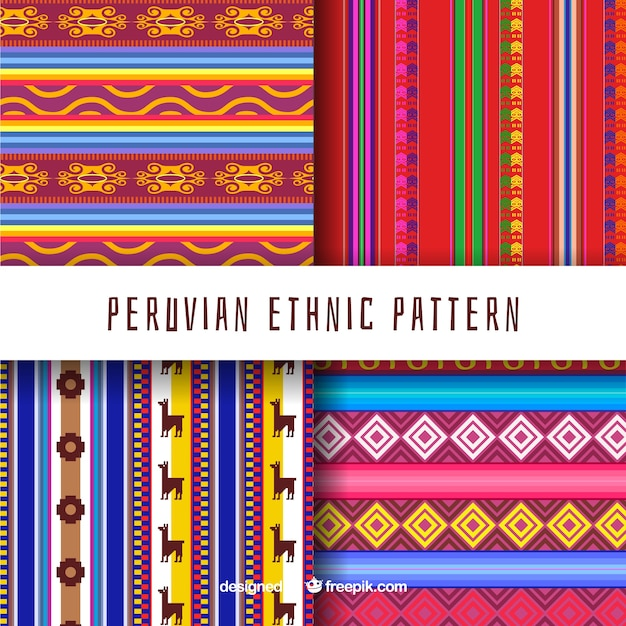 Four peruvian patterns Free Vector
