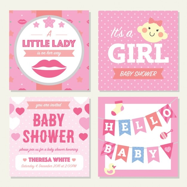 Four pink cards for baby shower