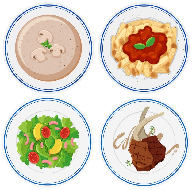 Four plates of different food Free Vector