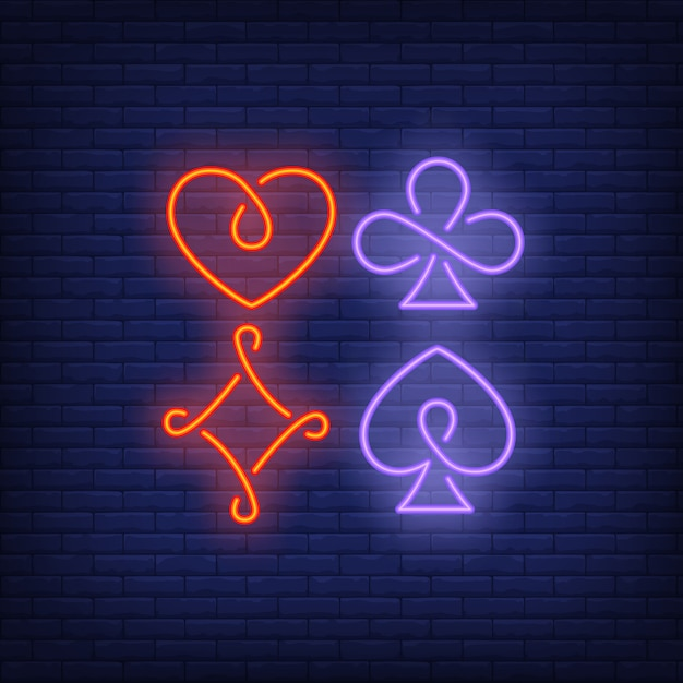 Four playing card suit symbols neon sign Free Vector