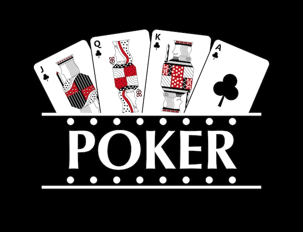 Four playing clubs cards poker banner Premium Vector