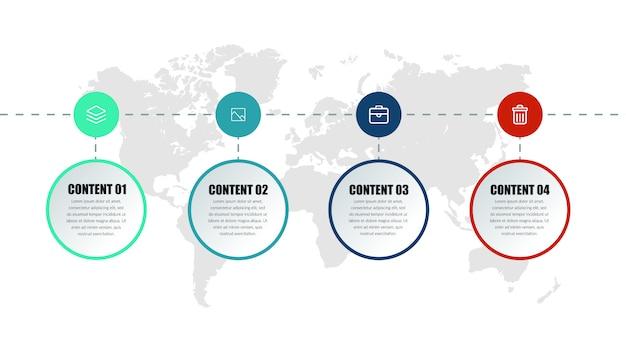 Четырехточечный бизнес инфографики элемент дизайна Premium векторы