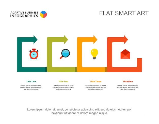 Four Points Process Chart Slide Template Business Data Idea - Process review template