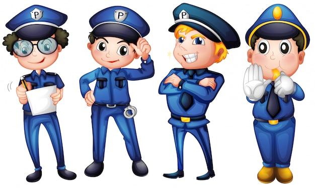 Four policemen Premium Vector