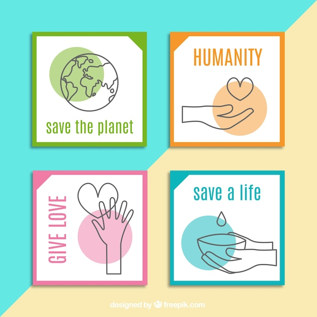 Four pretty cards about charity Free Vector