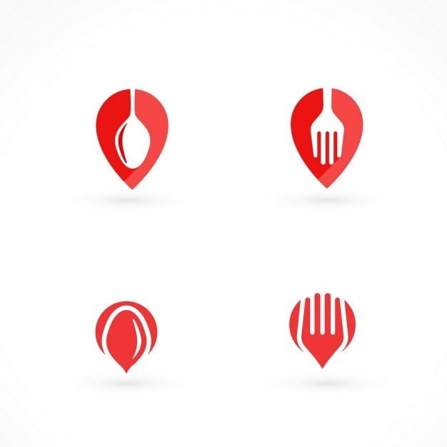 Four red logos for food at home Free Vector