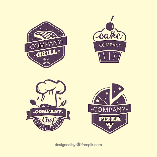 Four restaurant labels Free Vector