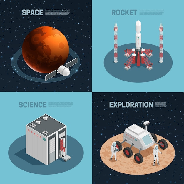 Four rocket space isometric icon set with science exploration space and rocket headlines vector illu Free Vector