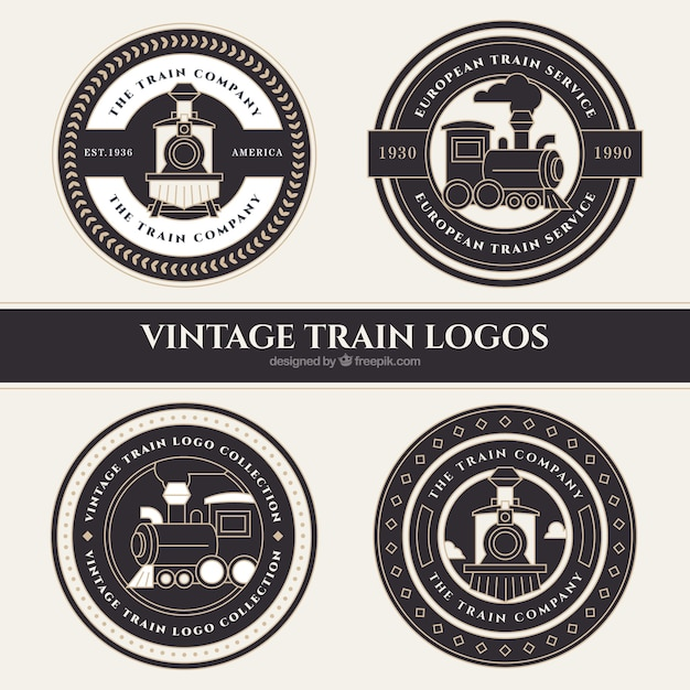 Four round train logos in vintage style Free Vector