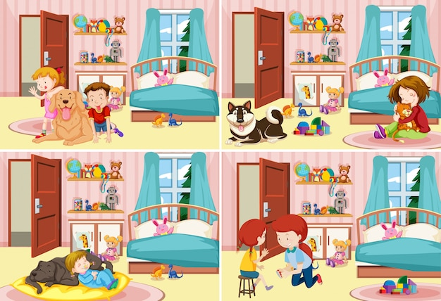 Four scenes of children in the bedroom Premium Vector