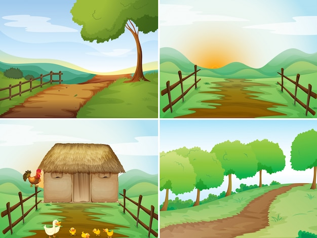 Four scenes of countryside with cabin and trails Free Vector