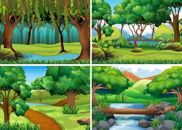 Four scenes of forest and river Free Vector