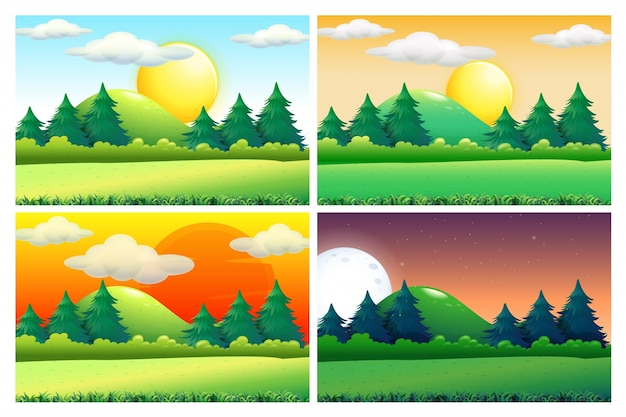 Four scenes of green fields at different times of day Premium Vector