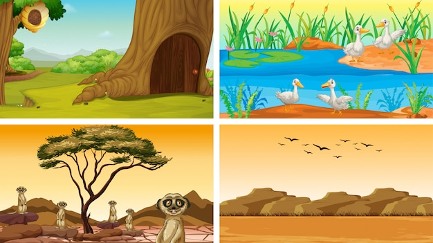Four scenes of nature with animals Free Vector