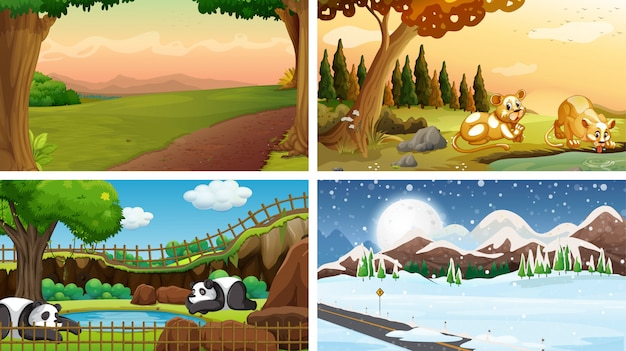 Four scenes of nature with many animals Free Vector