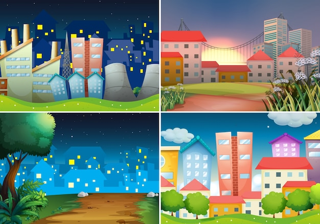 four scenes of city view at night Free Vector