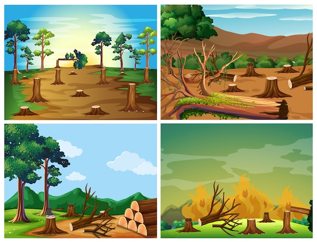 Four scenes of deforestation and wild fire illustration