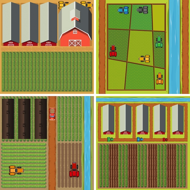 Four scenes of farmyard from top view Free Vector