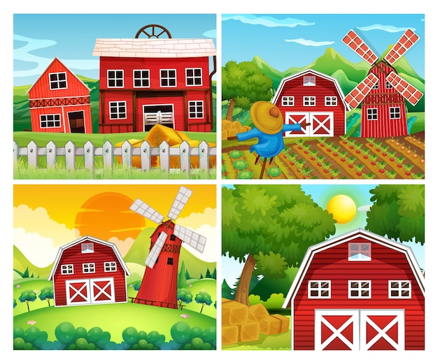 Four scenes of farmyards Free Vector