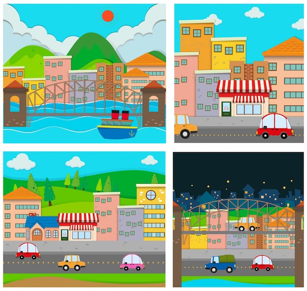 Four scenes of the city Free Vector