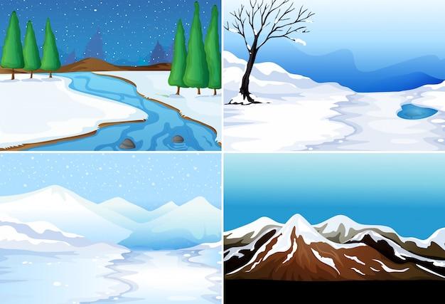 Four scenes of winter season
