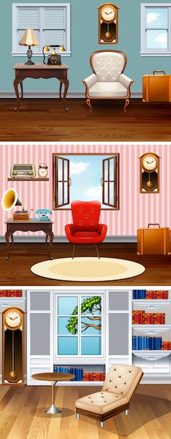 Four scenes of rooms in the house Free Vector