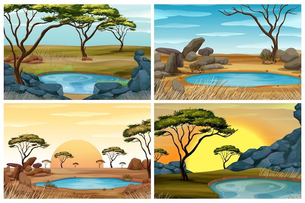 Four scenes of savanna field with waterhole Free Vector