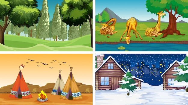 Four scenes with animals and parks Free Vector