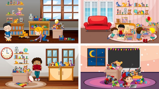 Four scenes with children playing in different rooms Free Vector