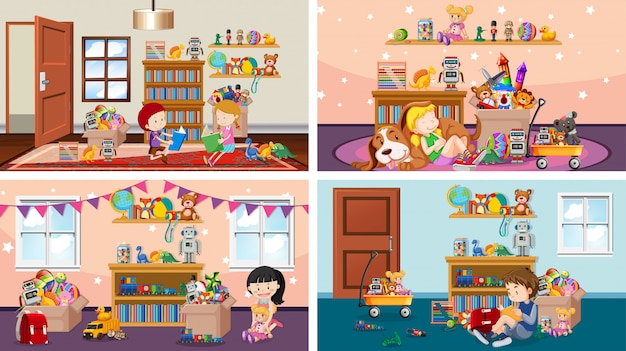 Four scenes with children playing in different rooms Premium Vector