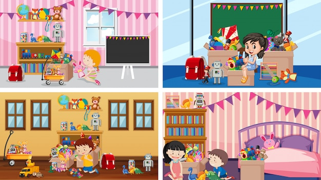 Four scenes with children playing in the rooms Free Vector