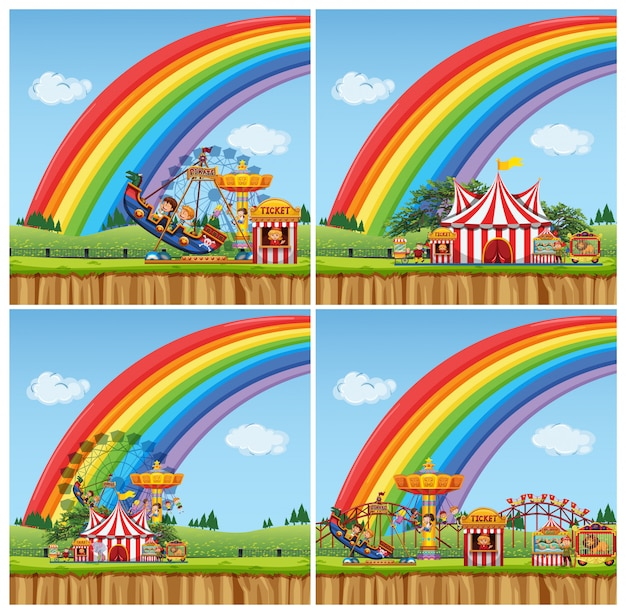 Four scenes with children riding rides in the funpark Free Vector