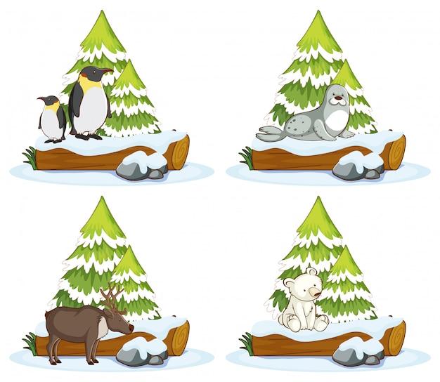 さまざまな動物の4つのシーン 無料ベクター