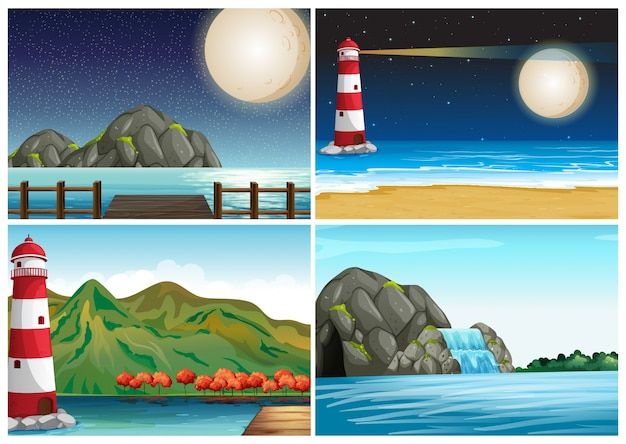 Four scenes with lighthouse and ocean\ illustration