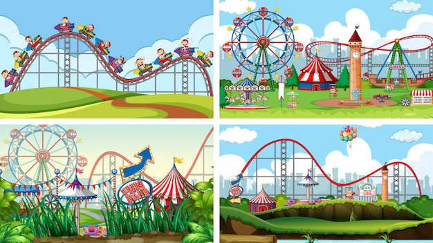 Four scenes with many rides in the fun fair Free Vector