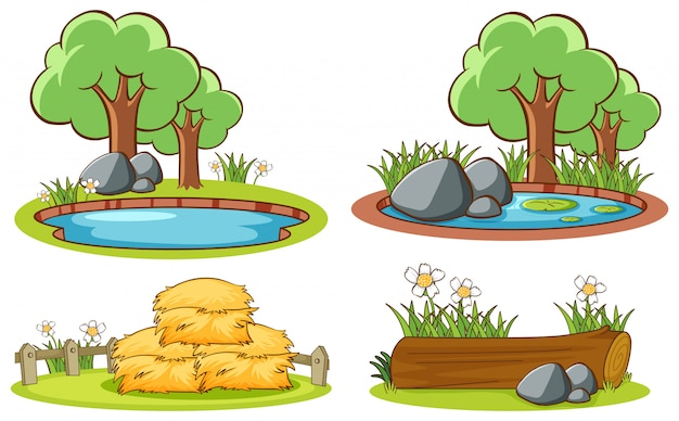 Four scenes with nature Free Vector
