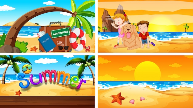 Four  scenes with summer theme Free Vector