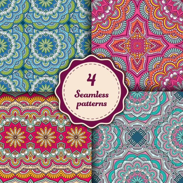Four seamless mandala patterns Free Vector