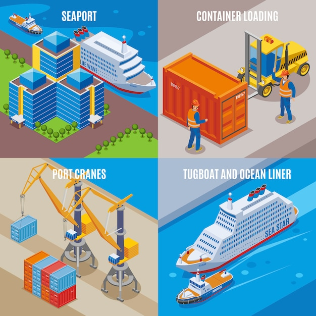 Four seaport isometric icon set with container loading port cranes tugboat and ocean liner descriptions  illustration Free Vector
