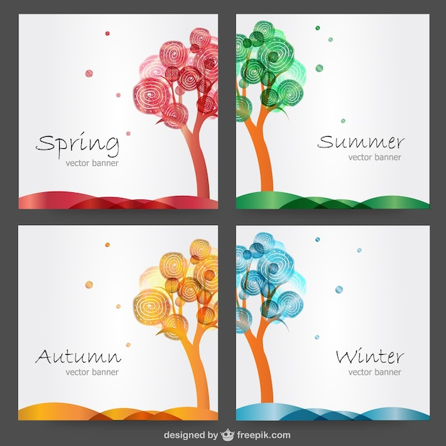 Four seasons cards Free Vector