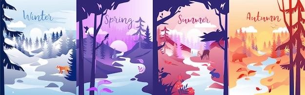 사계절 개념 그림. 겨울, 봄, 여름, 가을 구성. 다른 시간에 한 지역의 다채로운 클립 아트. 작은 강, 나무, 태양 및 동물과 자연. 프리미엄 벡터