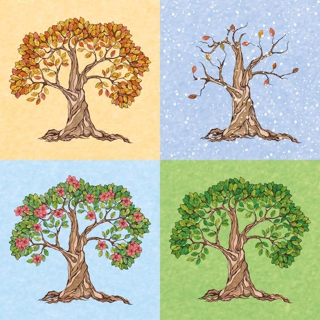 Four seasons summer autumn winter spring  tree wallpaper vector illustration Free Vector