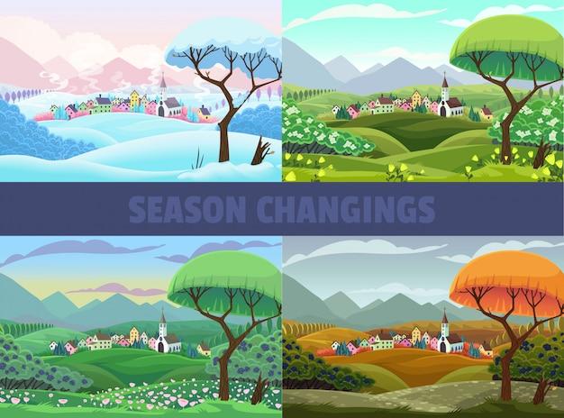Four seasons of village view Premium Vector