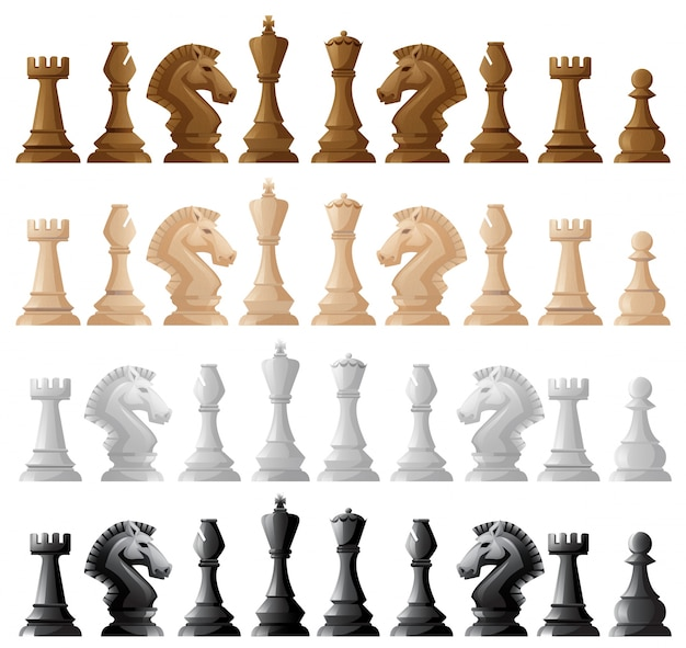 Four set of chess pieces illustration Free Vector