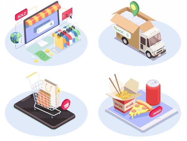 Four shopping e-commerce isometric compositions set with conceptual images of consumer electronics pictograms and goods vector illustration Free Vector