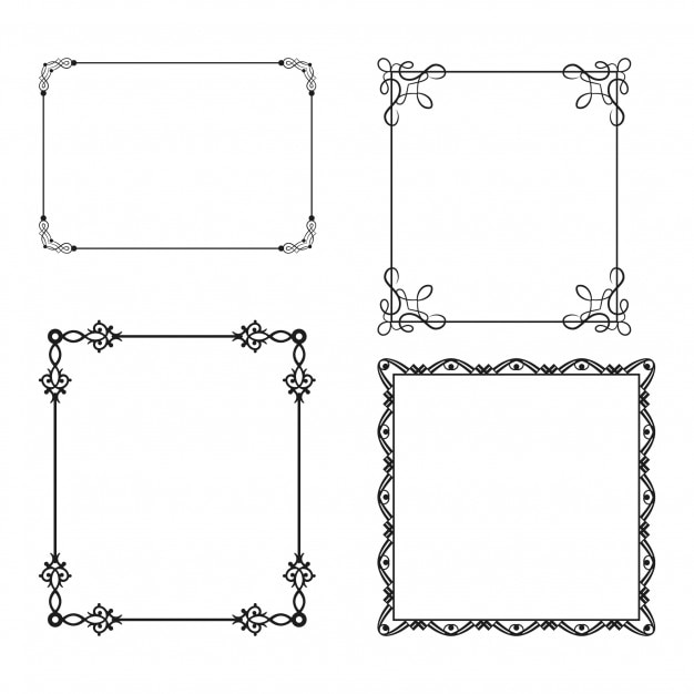 Four simple ornamental frames Free Vector
