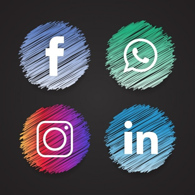 Four sketched icons, social networks Free Vector
