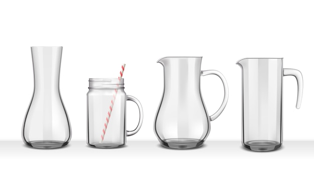 Four smooth glass realistic jugs and carafes of various shapes on white Free Vector