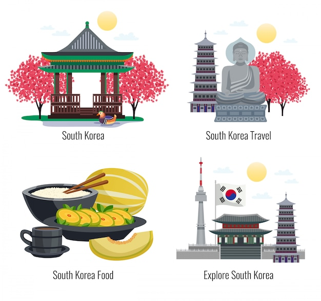 Four south korea tourism compositions with text captions and images of traditional food buildings and memorials  illustration Free Vector